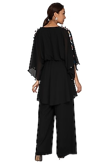 Black Embroidered Kaftan Top by Prerana Nagpal