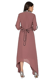 Rosewood Pink Hand Embroidered Tunic Dress by Prerana Nagpal