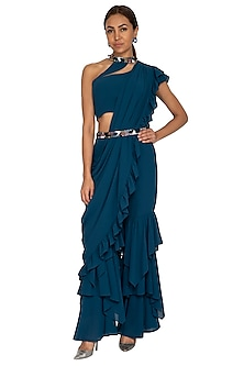 Teal Blue Embroidered Crop Top With Palazzo Pants & Dupatta by Prerana Nagpal