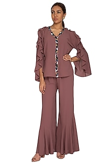 Rosewood Pink Embroidered Ruffled Blouse With Flared Pants by Prerana Nagpal