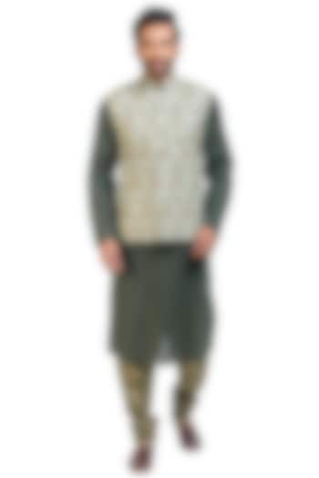 Military Green Printed Jacket Set by Poonam Kasera