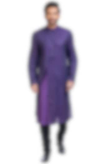 Purple Layered Kurta Set by Poonam Kasera
