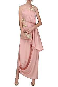 Blush Pink Embroidered Drape Gown by Prerana Nagpal
