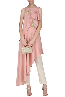 Blush Pink Asymmetrical Embroidered Drop Shoulder Tunic with Trousers by Prerana Nagpal