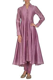 Lavender Embroidered Kurta With Pants by POULI