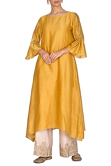 Yellow Embroidered Kurta With Pants by POULI