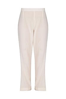 Off White Embroidered Pants by POULI