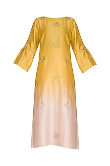 Yellow Embroidered Ombre Kurta by POULI