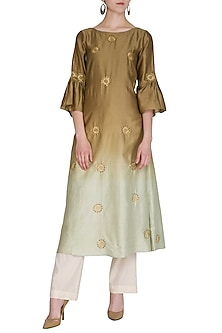 Olive Green Embroidered Ombre Kurta by POULI