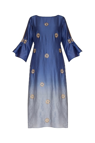 Deep Blue Embroidered Ombre Kurta by POULI