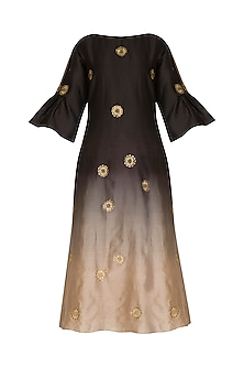 Black Embroidered Ombre Kurta by POULI