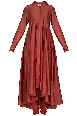 Brick Red Embroidered Kurta With Pants by POULI