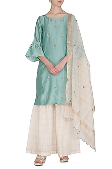 Light Turquoise Embroidered Gharara Set by POULI