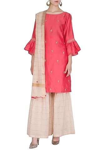 Deep Pink Embroidered Gharara Set by POULI