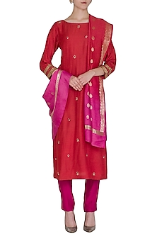 Brick Red Embroidered Kurta Set by POULI