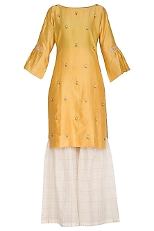 Yellow Embroidered Gharara Set by POULI