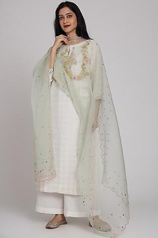 Off White Checkered Embroidered Kurta Set by Pouli