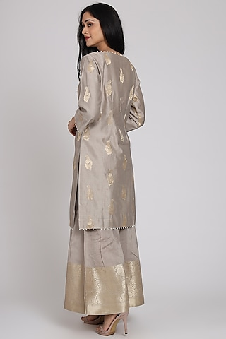 Grey Embroidered Gharara Set by Pouli