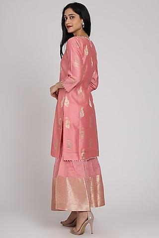Blush Pink Embroidered Gharara Set by Pouli