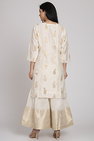 White Embroidered Gharara Set by Pouli