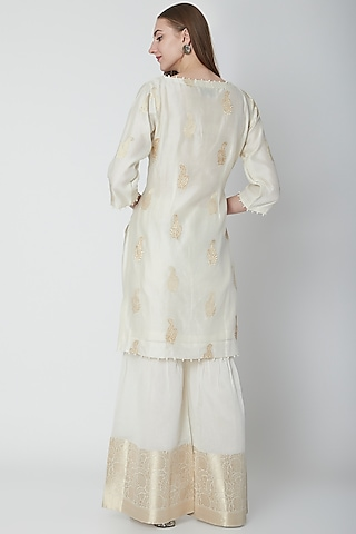 Off White Embroidered Gharara Set by POULI