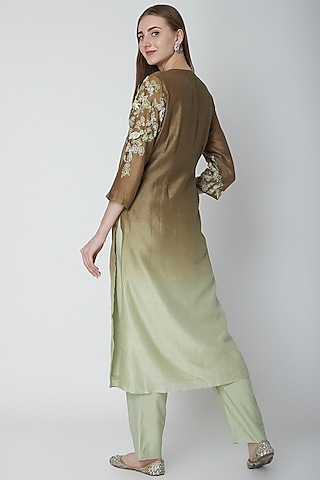 Olive Green Embroidered Ombre Kurta Set by POULI
