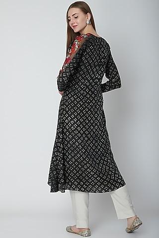 Black Bandhani Embroidered Kurta by POULI