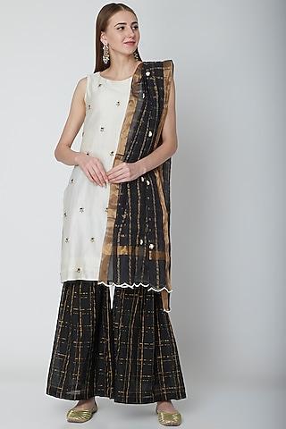 White & Black Embroidered Gharara Set by POULI