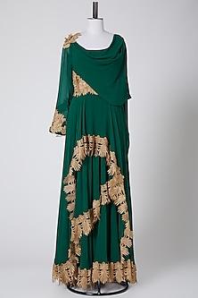 Emerald Green Draped Anarkali by Pooja Rajpal Jaggi