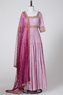 Mauve & Purple Embroidered Anarkali Set by Pooja Rajpal Jaggi
