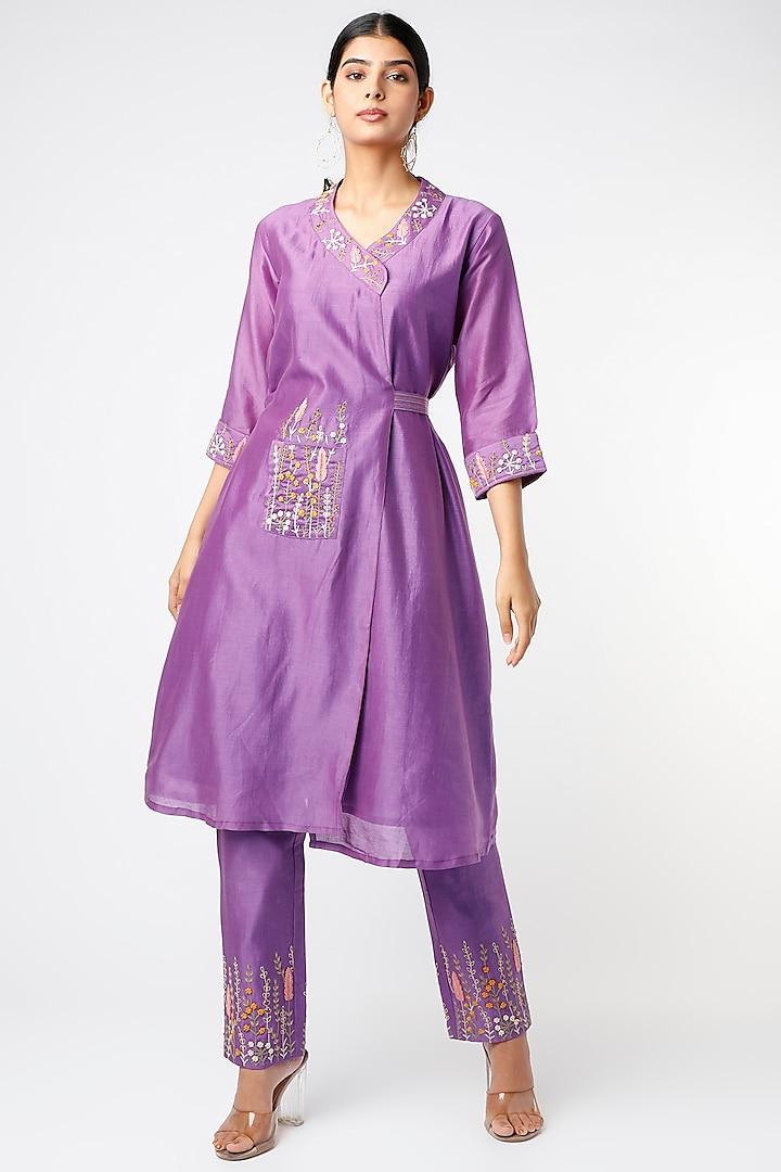 Purple Embroidered Wrap Kurta Set by Pooja Zaveri