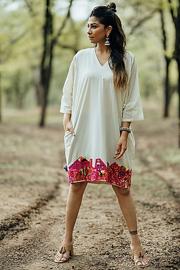 White Embroidered Shift Dress by Pooja & Keyur