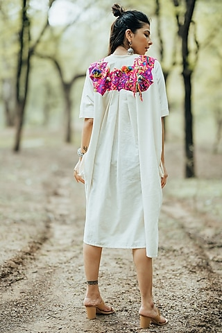 White Embroidered Kaftan Dress by Pooja & Keyur
