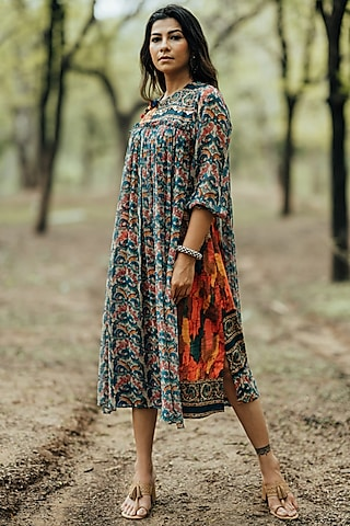 Teal Printed Layered Dress by Pooja & Keyur
