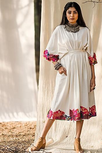 White Embroidered Khadi Dress by Pooja & Keyur
