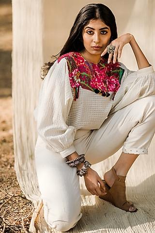 White Khadi Embroidered Top by Pooja & Keyur