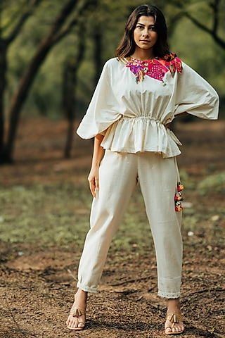 White Kutch Embroidered Top by Pooja & Keyur