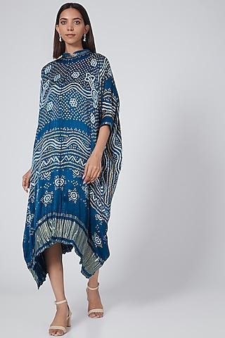 Cobalt Blue Printed Kaftan by Pooja Bagaria