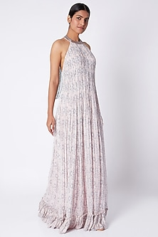 Pale Pink Embroidered & Printed Gown by Pooja Sampat