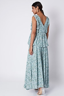 Pale Blue Embroidered & Printed Tunic With Palazzo Pants by Pooja Sampat