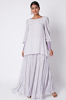 Ivory & Lavender Embroidered Printed Tunic With Flared Palazzo Pants by Pooja Sampat