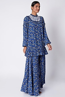 Navy Blue Embroidered & Printed Tunic With Flared Palazzo Pants by Pooja Sampat
