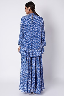 Cornflower Blue Embroidered & Printed Tunic With Palazzo Pants by Pooja Sampat