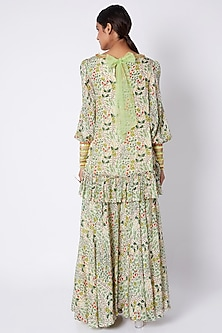 Multi Colored Embroidered & Printed Tunic With Flared Palazzo Pants by Pooja Sampat