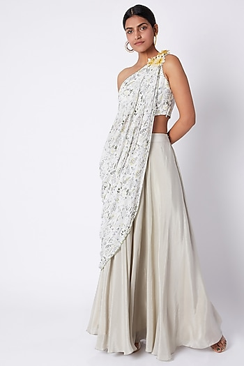 Ivory Embroidered & Printed Crop Top With Palazzo Pants by Pooja Sampat