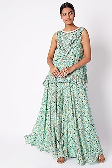 Sea Green Embroidered & Printed Tunic With Palazzo Pants by Pooja Sampat