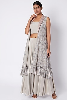 Beige Embroidered Bustier With Palazzo Pants & Jacket by Pooja Sampat