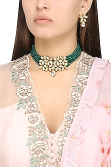 Gold Plated Kundan and Emerald Pearls Choker Necklace Set by Polki Box