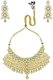Gold Plated Kundan and Green Enamel Necklace Set by Polki Box