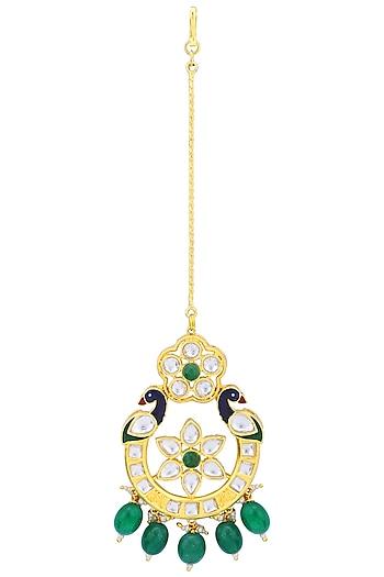Gold Plated Kundan and Green Beads Peacock Maangtika by Polki Box